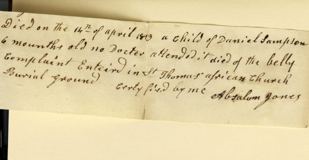 One of Richard Allen's notes about a yellow fever death