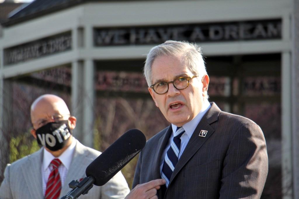 Philadelphia DA Larry Krasner at a press conference in April 2021