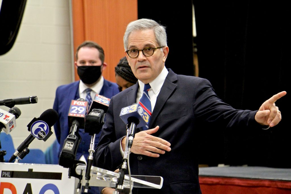 Philadelphia DA Larry Krasner speaks during a press conference on the handling of gun crimes and other serious offenses