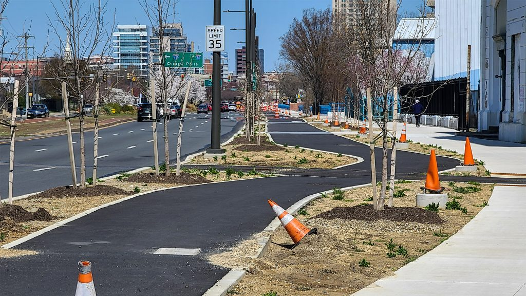 A portion of the newly paved trail along the Delaware River waterfront