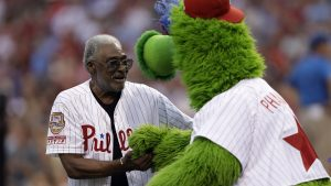 Dick Allen and the Phillie Phanatic in 2017