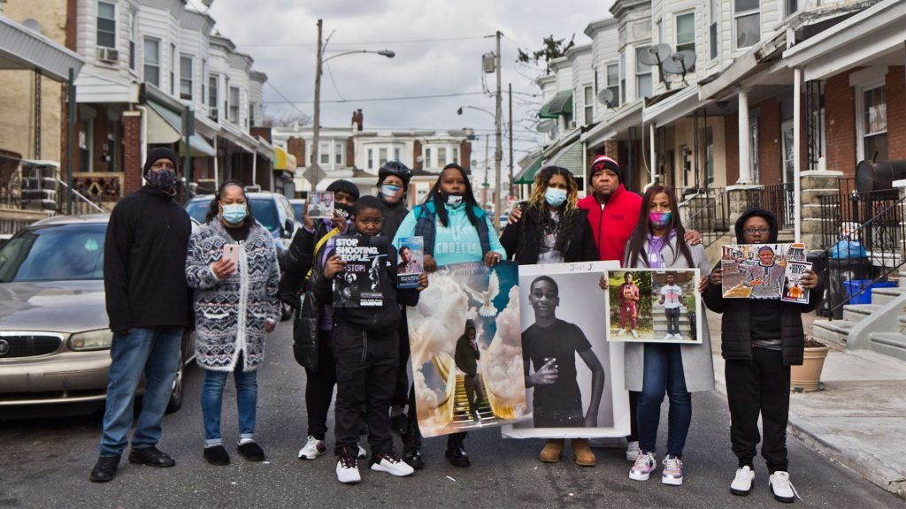 Voices by Choices members at a an MLK Day event remembering 7-year-old Zamar Jones. fatally shot in the summer of 2020 in West Philly