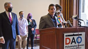 Kelly Burkhardt, LGBTQ liaison at the Philadelphia DAO at the announcement of its LGBTQ+ Advisory Board in March 2021