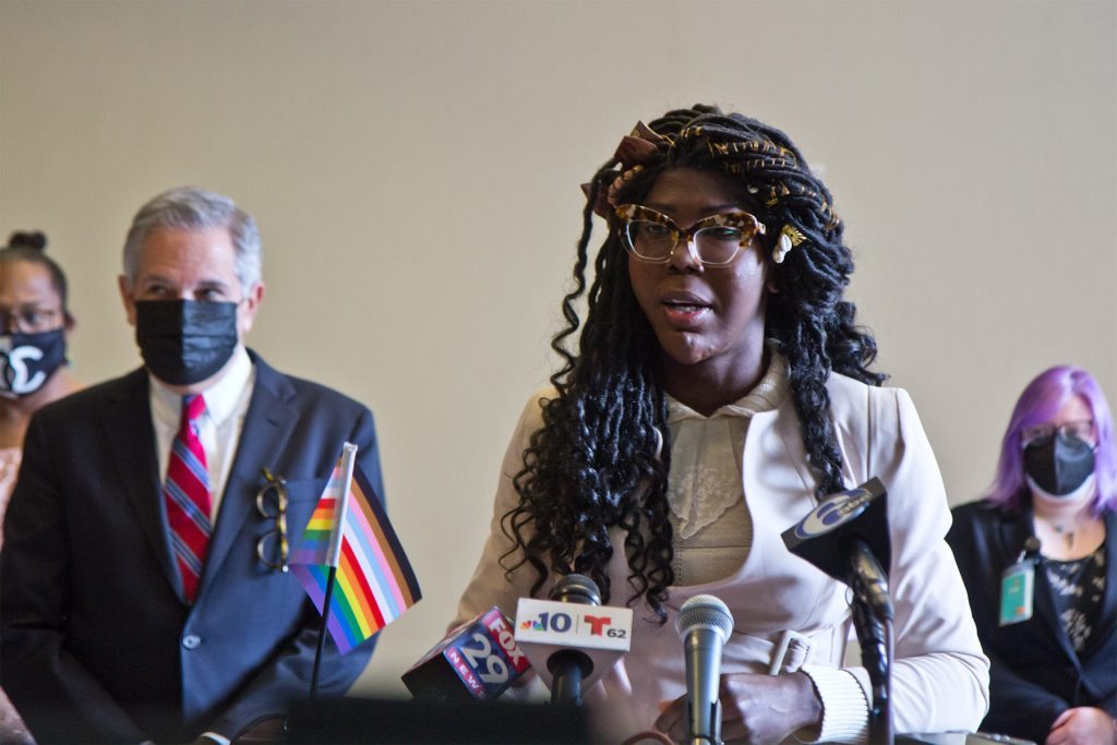 Kendall Stephens, an advocate and student, at the DAO's announcement of its LGBTQ+ Advisory Board in March 2021