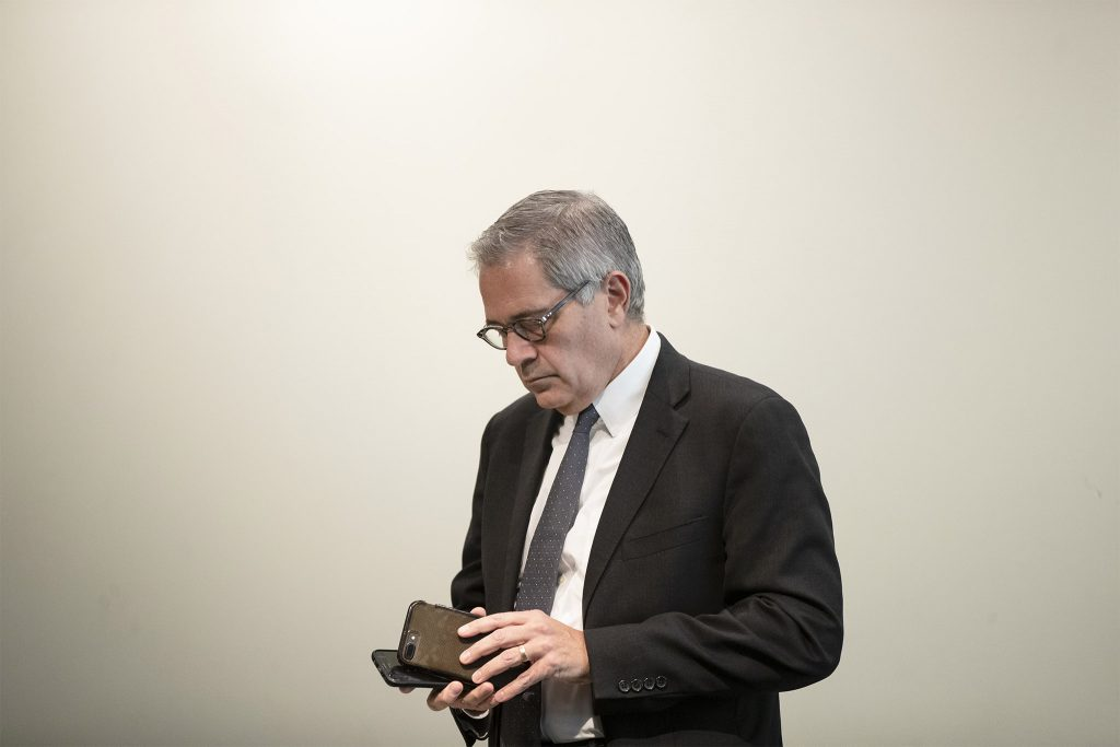 Philadelphia DA Larry Krasner before a news conference in November 2019