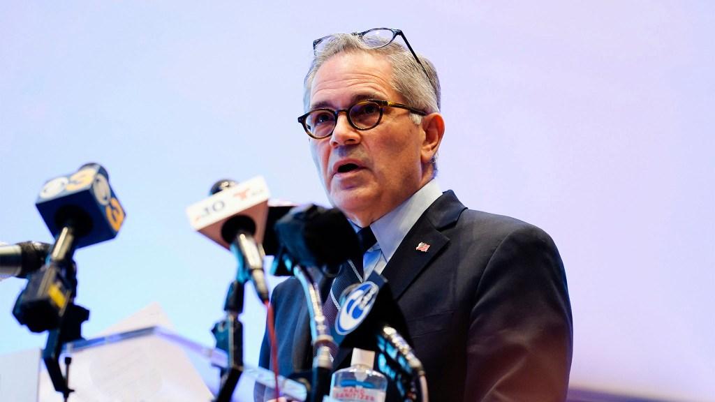 Philadelphia DA Larry Krasner speaks during a news conference in March 2021