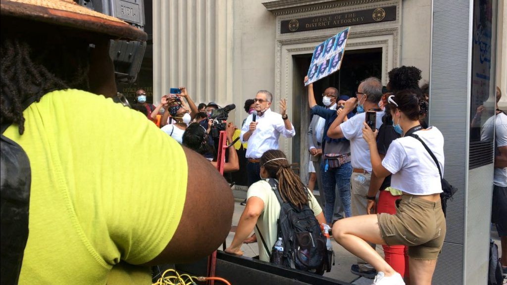 DA Krasner is booed by protesters in July 2020
