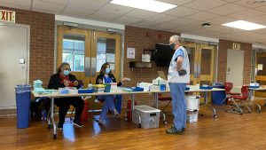 Health care workers at the Temple University vaccination clinic in April 2021