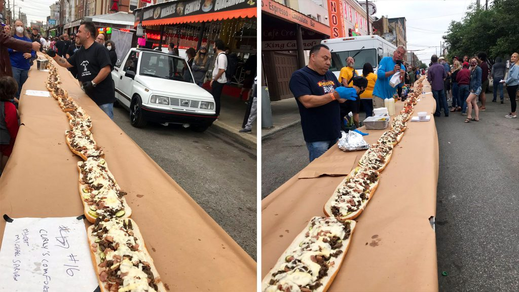 Looking both ways down the middle of a giant (?) cheesesteak