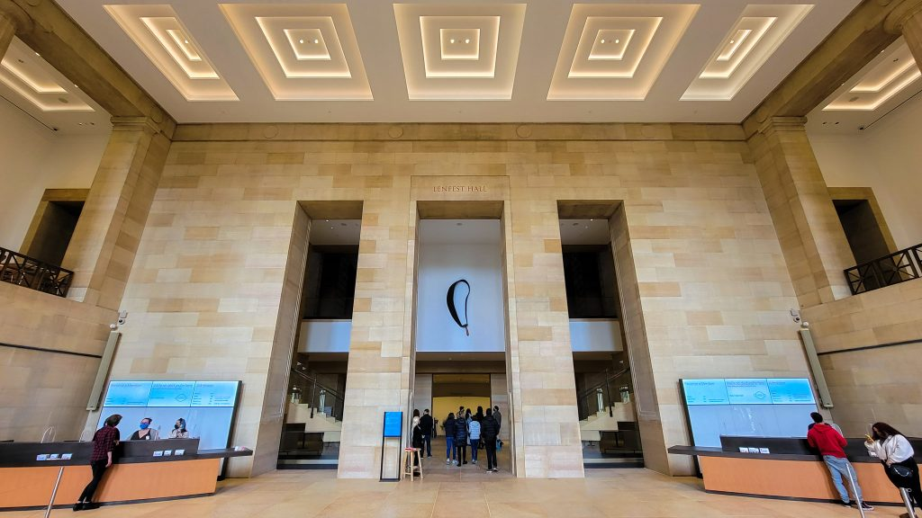 Lenfest Hall, the spacious new vestibule welcoming visitors through the west entrance