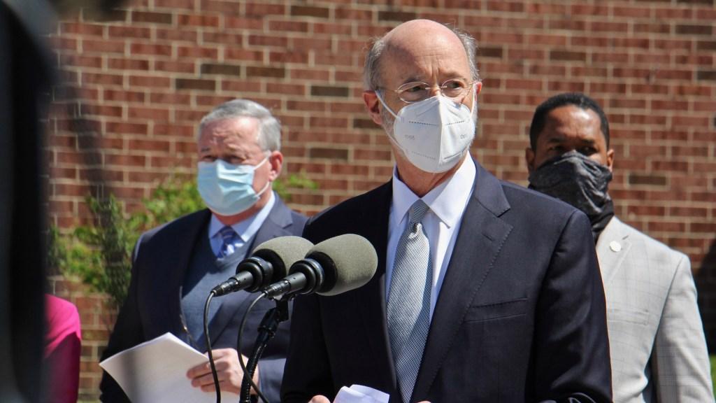 Gov. Tom Wolf at an April 2021 press conference in Philadelphia
