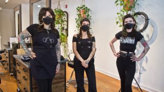 Angel Indelicato, owner of Transfiguration Hair Studio, (left) haircrafter Lola González-Heres (center) and haircrafter Hailey Sykes inside the salon in West Philadelphia
