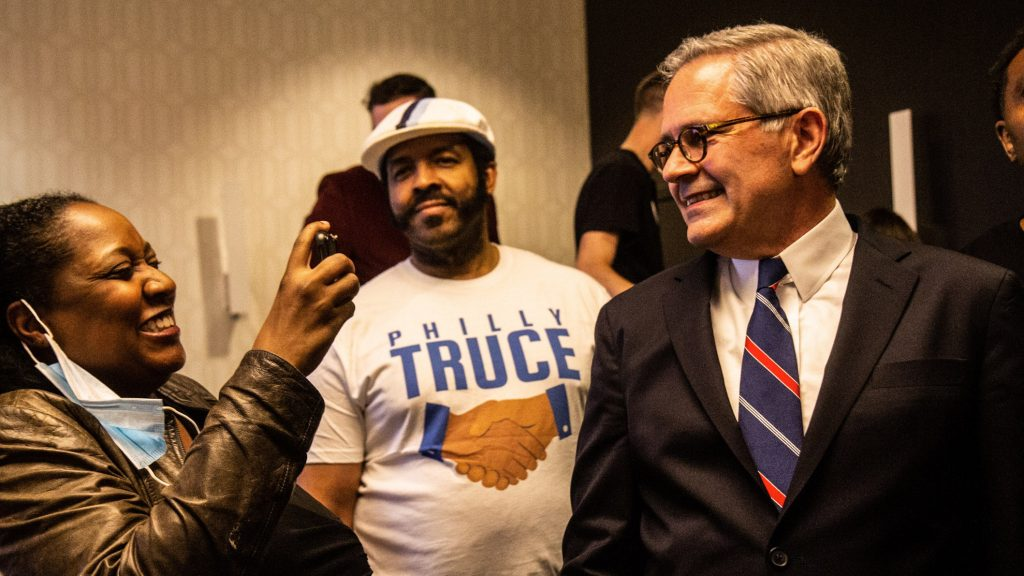 Philadelphia District Attorney Larry Krasner celebrates with supporters at his victory party