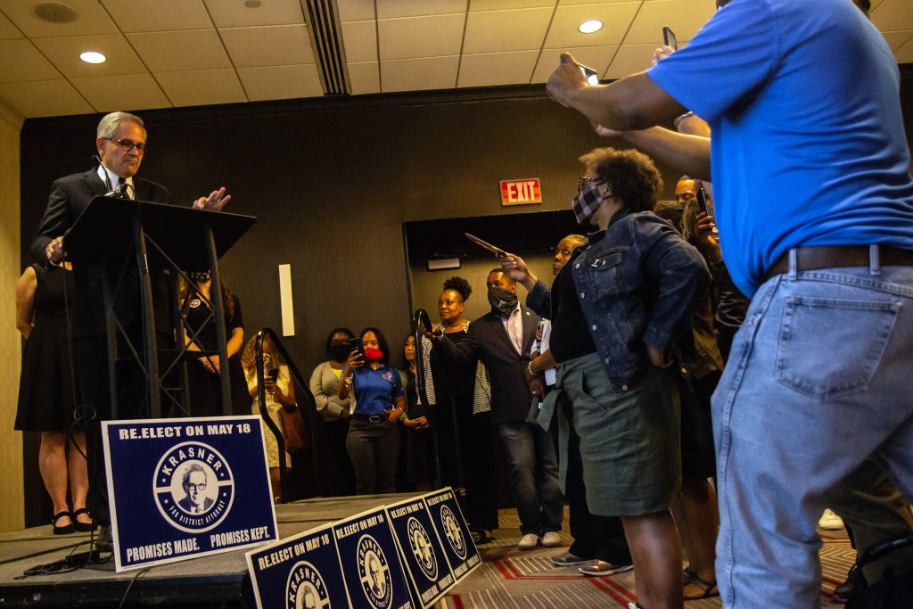 Philadelphia District Attorney Larry Krasner declares victory in the Democratic primary at his campaign party at the Sonesta Hotel in Center City