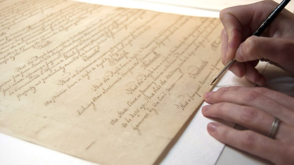 In 2013, professionals at the Conservation Center for Art & Historic Artifacts in Philadelphia helped restore the Pennsylvania Constitution