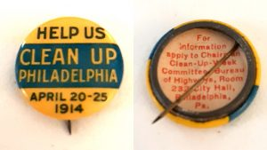 Philadelphia gave out 100,000 of these pins to schoolchildren to promote the citywide cleanup