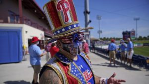 Phillies fan Tony Penecale at spring training in March 2021