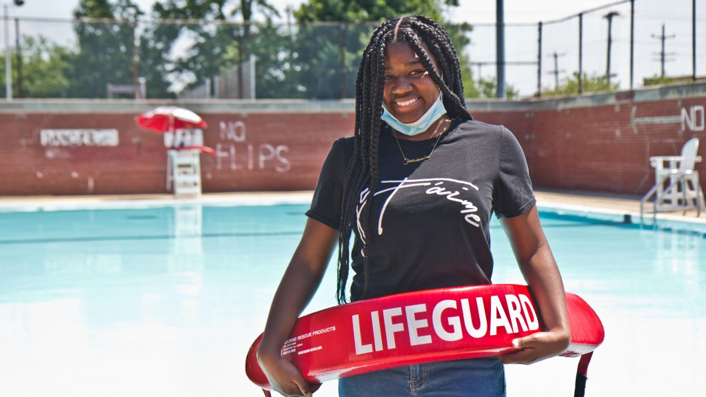 Faith Bradley, 15, about to complete her lifeguard training at Samuel Recreation Center in Port Richmond