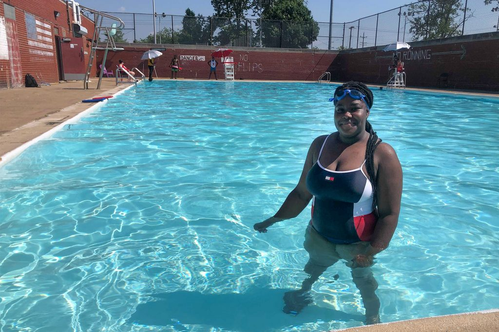 Ahlayjah Parker, who's relearning how to swim in order to become a lifeguard