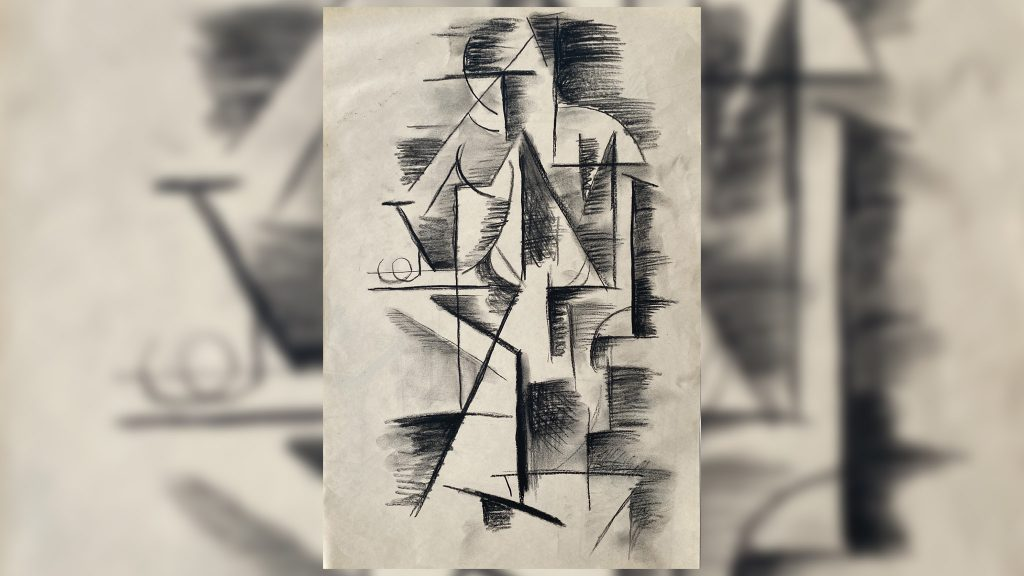 'Woman with Mandolin,' by Pablo Picasso, 12x18, charcoal on newsprint