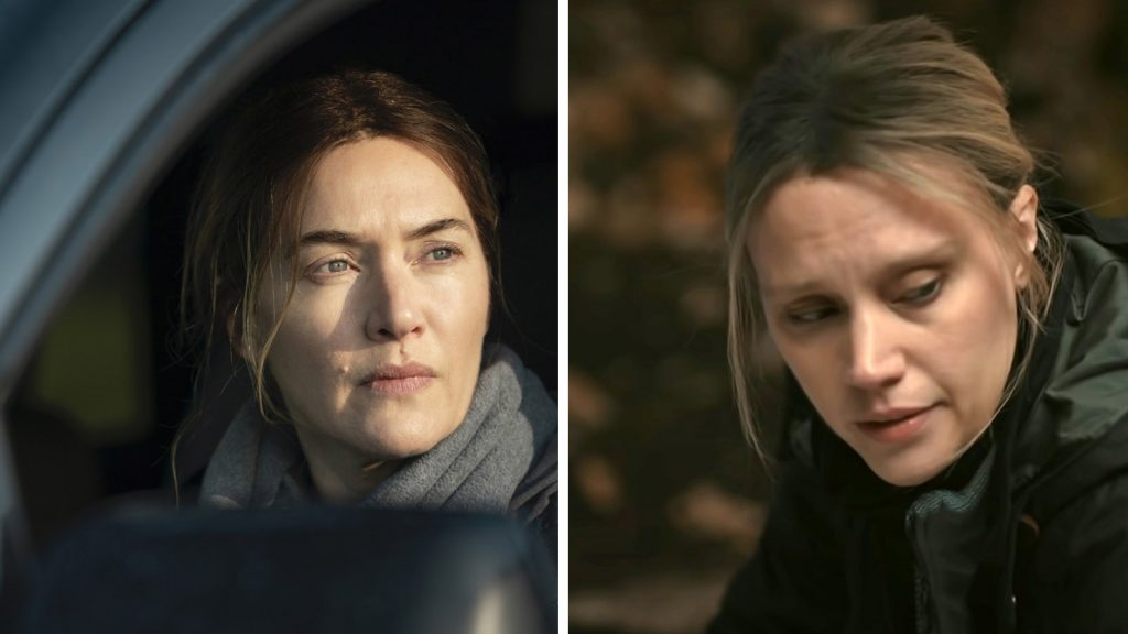 Kate Winslet in 'Mare of Easttown'; Kate McKinnon in 'Murdur Durder'