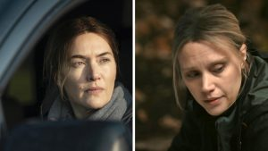 Kate Winslet in 'Mare of Easttown'; Kate McKinnon in 'Murdur Durder'