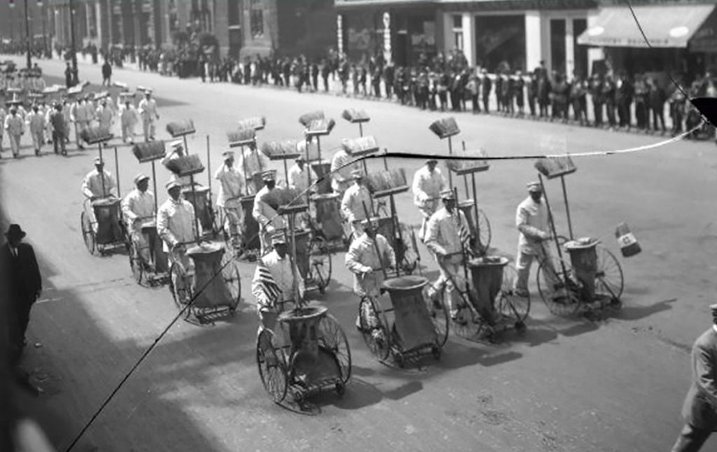 The city's crew of mostly Black workers march during Philadelphia's 1914 Clean Up Week Parade