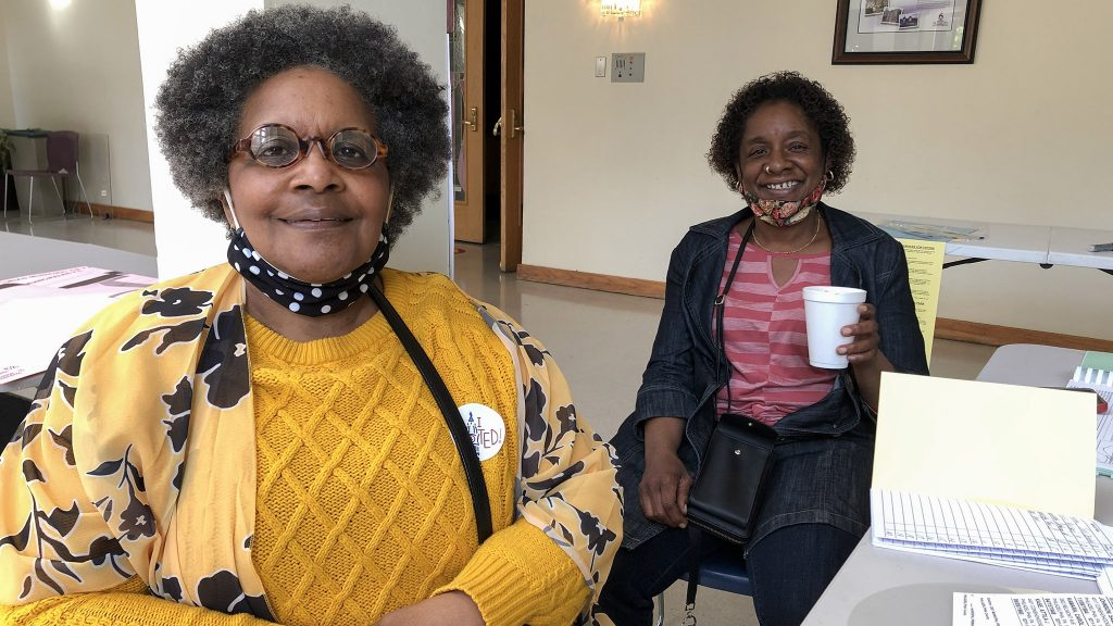 Patricia Davenport (L) and Marion Parks (R), poll workers at Sharon Baptist Church in West Philadelphia