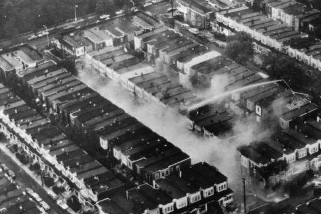 An aerial view of Osage Avenue after the bombing