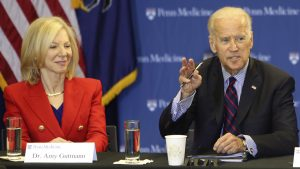 Joe Biden, at the time a former VP, with Amy Gutmann during a roundtable discussion in the Abramson Cancer Center at the University of Pennsylvania in 2016