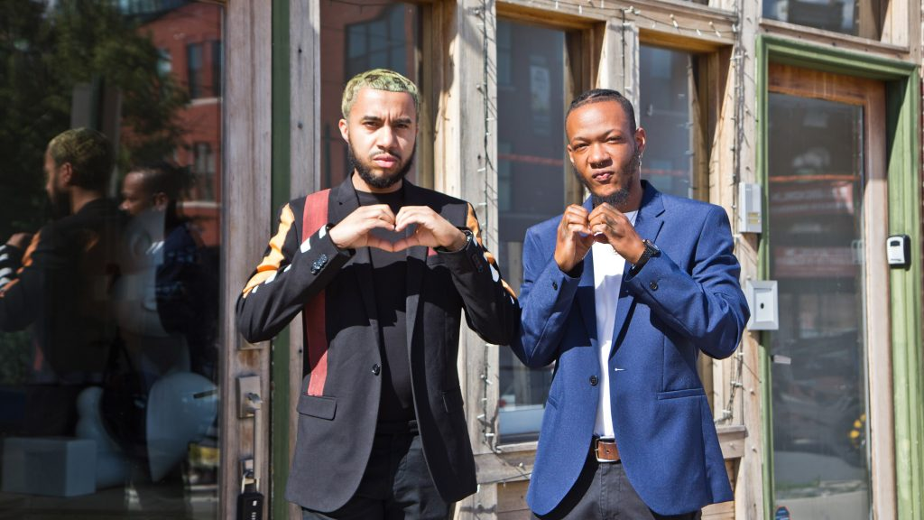 Jay Ortiz (left) and Darnell Schoolfield (right) outside Art From the Heart in Brewerytown