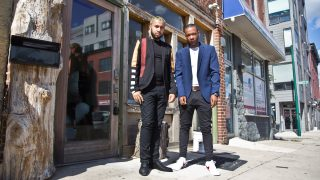 Jay Ortiz (left) and Darnell Schoolfield (right) outside Art From the Heart Gallery in Brewerytown