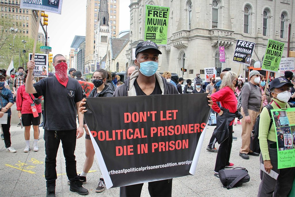 Philadelphians protests in support of Mumia Abu-Jamal's freedom