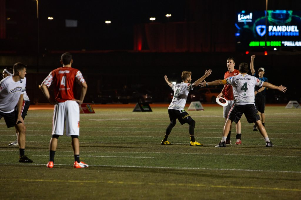 The Cannons put a double team defense on Phoenix player Mike Arcata at the start of the fourth quarter