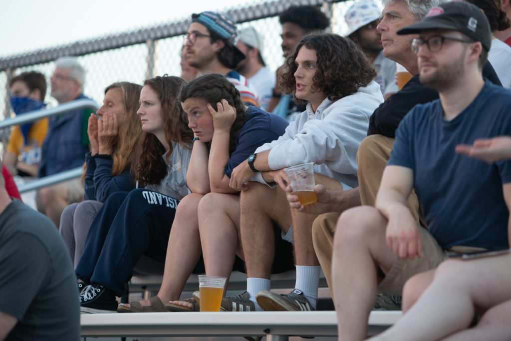 Fans react in the stands as they watch the Phoenix play the Tampa Bay Cannons