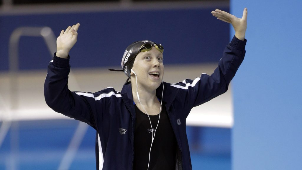 Sierra Schmidt dances before the start of the women's 800 meter freestyle at the 2015 Pan Am Games, where she won gold