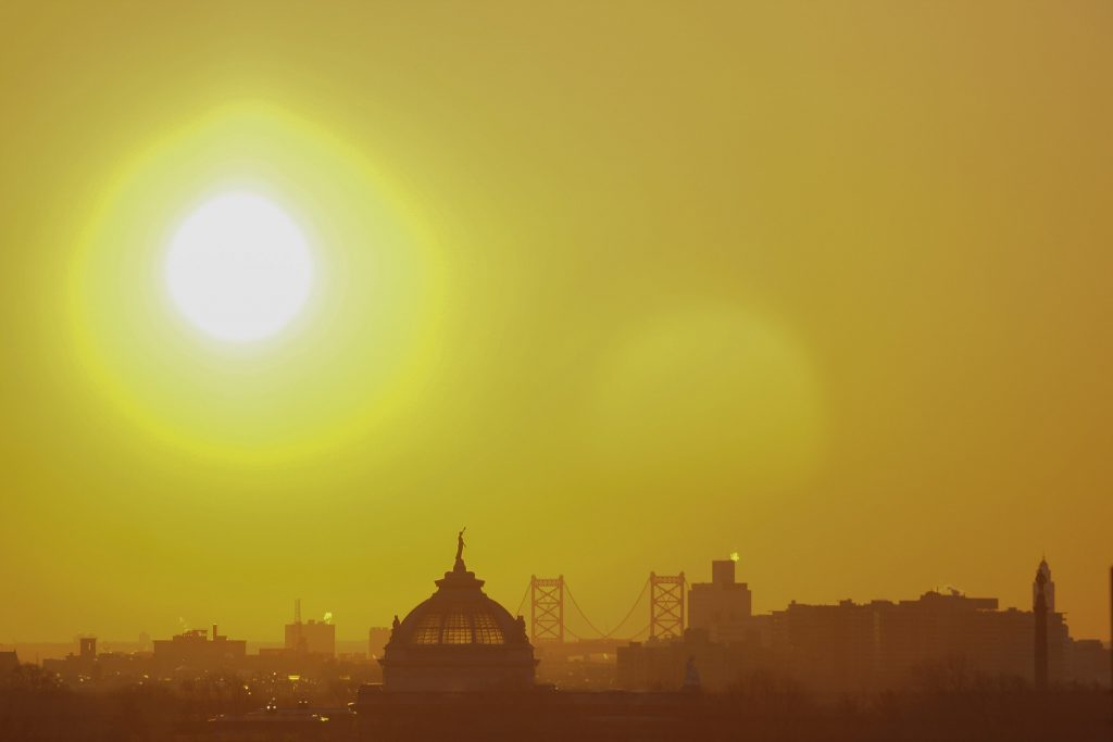Philadelphia sunrise over the Delaware