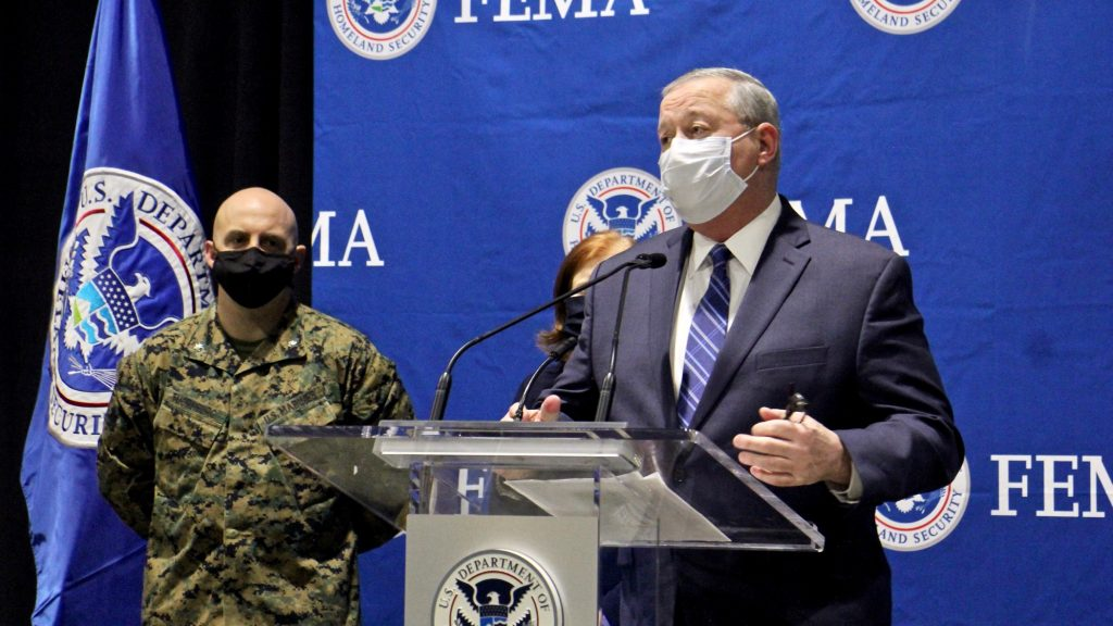 Mayor Jim Kenney speaks at the opening of the FEMA clinic in March