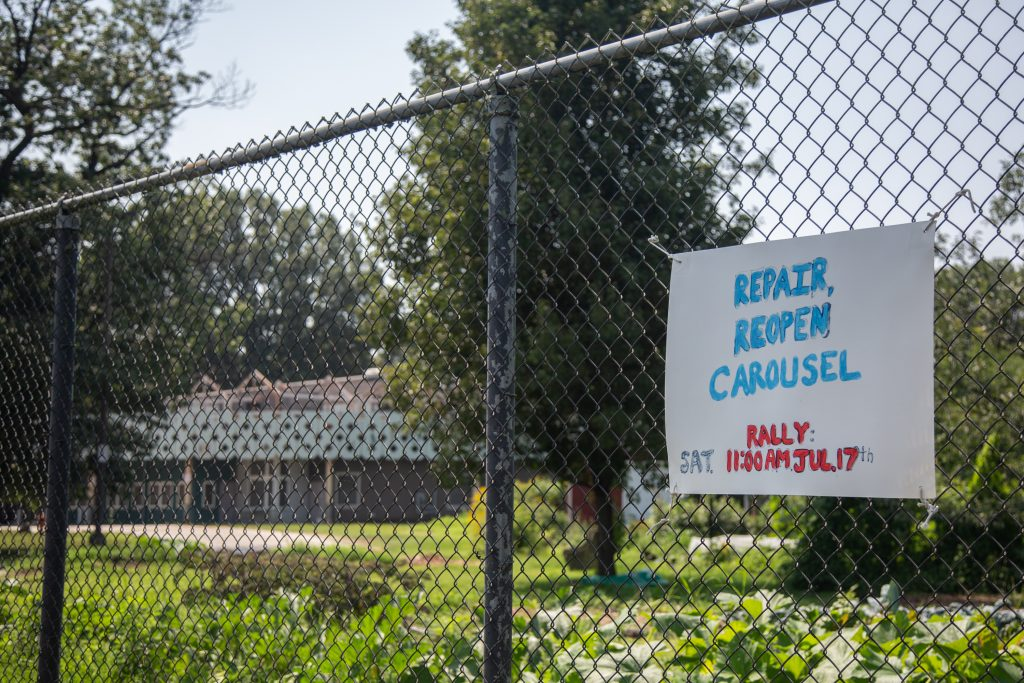 Over 100 people gathered in July to protest against the city's plan to tear down the East Parkside rec center