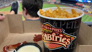 Crabfries and cheese sauce at Yankee Stadium in July