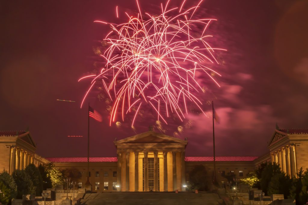 Fireworks erupt over the Philadelphia Museum of Art