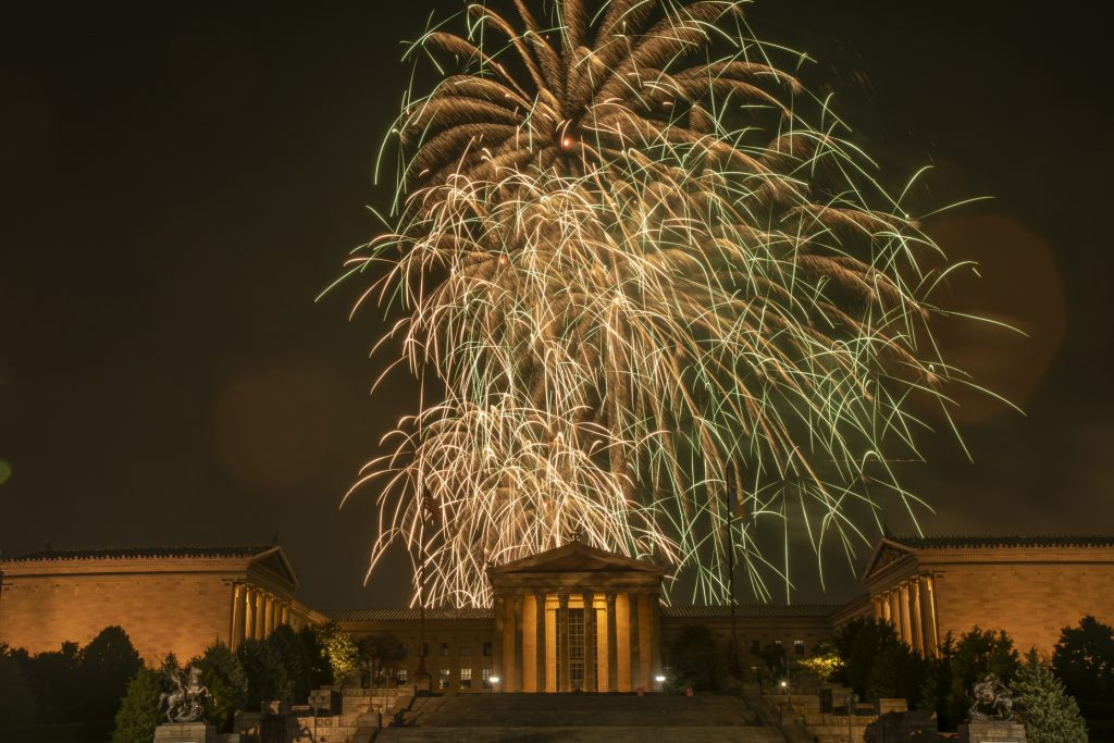 The Fourth of July fireworks display reaches its finale at the Philadelphia Museum of Art