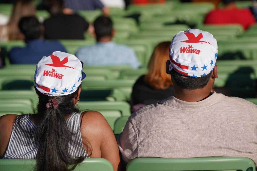 Wawa was giving out patriotic hats to the Mann Center crowd