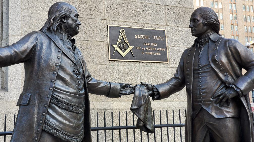 'The Bond' by James West (2017). Benjamin Franklin and George Washington were both Freemasons.