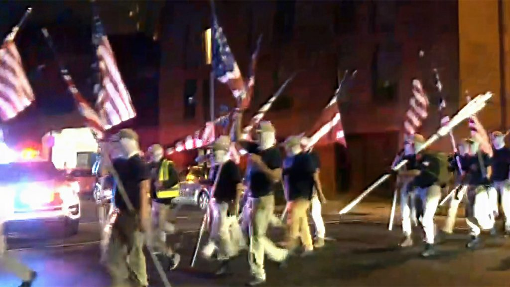 White supremacists marched through Philadelphia on July 3, before onlookers sent them running