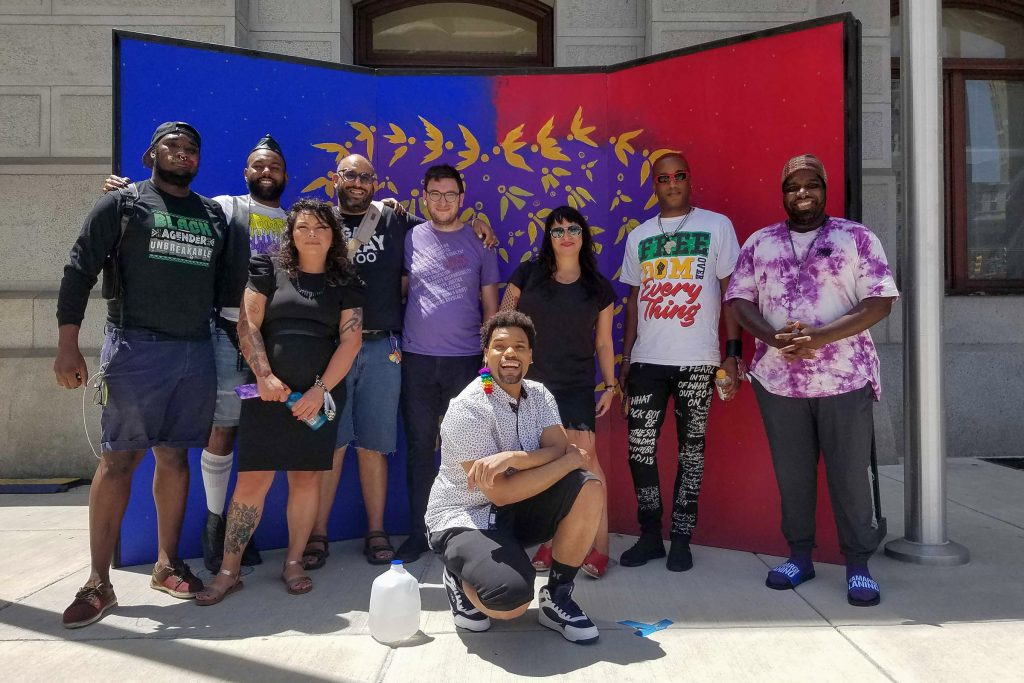 Some of PHL Pride Collective's organizers (L - R): Maso Kibble, Diamond Anthony, Jessica Kallup, Manny Frank-Lampon, Rich Frank-Lampon, André Henson aka Alzei Barbei Mizrahi, Elicia Gonzales, Jamaal Henderson, Abdul-Aliy Muhammad
