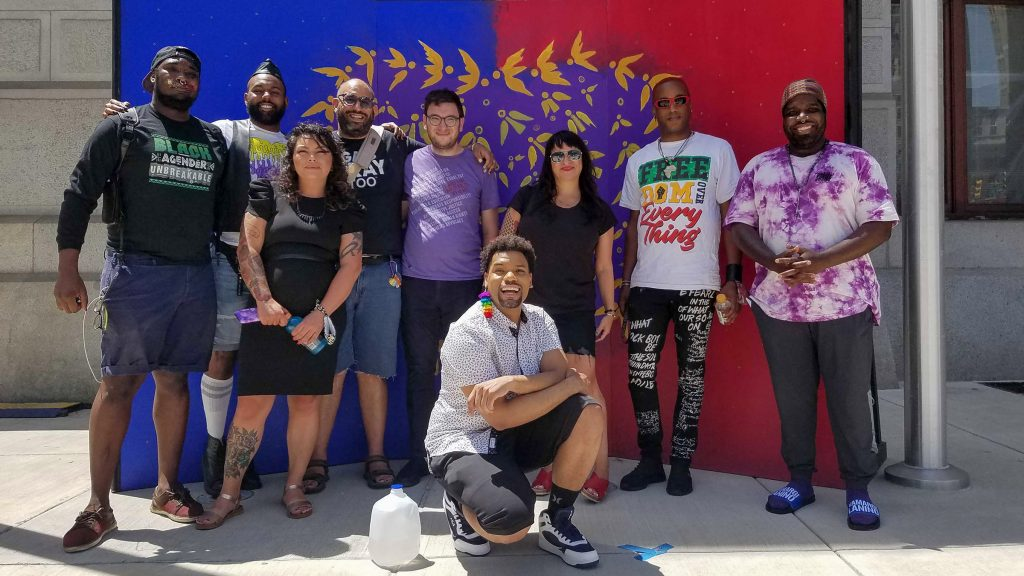 Part of the group forming the new organization (L - R): Maso Kibble, Diamond Anthony, Jessica Kallup, Manny Frank-Lampon, Rich Frank-Lampon, André Henson aka Alzei Barbei Mizrahi, Elicia Gonzales, Jamaal Henderson, Abdul-Aliy Muhammad