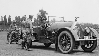 Smedley Butler (in the car) at Gettysburg during a Pickett's Charge reenactment by Marines in 1922
