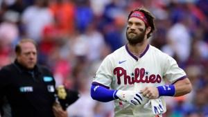 Philadelphia Phillies' Bryce Harper on, Aug. 7, 2021