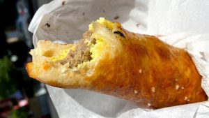 The breakfast-only roll-up at Miller's Twist is like an egg and cheese, but inside a pretzel